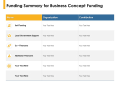 Funding Summary For Business Concept Funding Organization Ppt PowerPoint Presentation Outline Example File