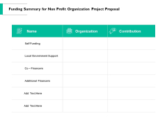 Funding Summary For Non Profit Organization Project Proposal Ppt PowerPoint Presentation Infographic Template Pictures