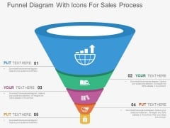 Funnel Diagram With Icons For Sales Process Powerpoint Templates