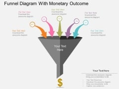 Funnel Diagram With Monetary Outcome Powerpoint Templates