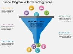 Funnel Diagram With Technology Icons Powerpoint Template