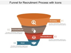 Funnel For Recruitment Process With Icons Ppt PowerPoint Presentation Summary Layout Ideas PDF