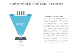 Funnel For Sales Cycle Lead To Purchase Ppt PowerPoint Presentation Slide Download