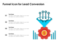 Funnel Icon For Lead Conversion Ppt PowerPoint Presentation Gallery Guidelines PDF