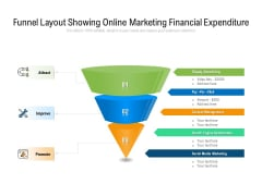 Funnel Layout Showing Online Marketing Financial Expenditure Ppt PowerPoint Presentation Icon Show PDF