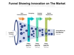 Funnel Showing Innovation On The Market Ppt PowerPoint Presentation Layouts Designs Download PDF