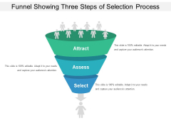 Funnel Showing Three Steps Of Selection Process Ppt PowerPoint Presentation Icon Influencers PDF
