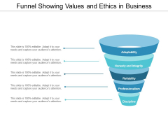 Funnel Showing Values And Ethics In Business Ppt Powerpoint Presentation Ideas Slide Download