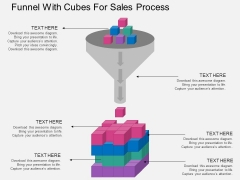 Funnel With Cubes For Sales Process Powerpoint Template