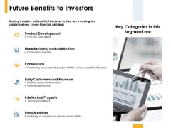 Future Benefits To Investors Product Development Ppt PowerPoint Presentation Ideas Design Inspiration