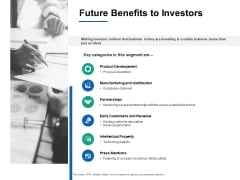 Future Benefits To Investors Product Development Ppt PowerPoint Presentation Infographics Skills