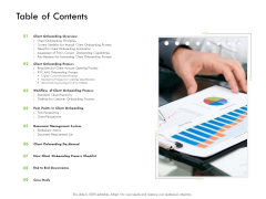 Future Of Customer Onboarding In Banks Table Of Contents Ppt File Skills PDF