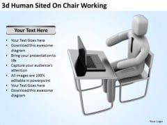 Famous Business People 3d Human Sited On Chair Working PowerPoint Templates