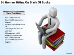 Famous Business People 3d Human Sitting On Stack Of Books PowerPoint Templates