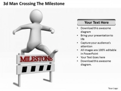 Famous Business People 3d Man Crossing The Milestone PowerPoint Templates