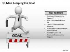 Famous Business People 3d Man Jumping On Goal PowerPoint Templates