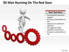Famous Business People 3d Man Running On The Red Gear PowerPoint Templates