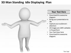 Famous Business People 3d Man Standing Idle Displaying Plan PowerPoint Slides