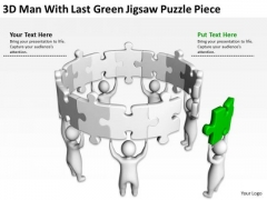 Famous Business People 3d Man With Last Green Jigsaw Puzzle Piece PowerPoint Templates