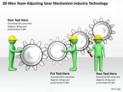 Famous Business People 3d Men Team Adjusting Gear Mechanism Industry Technology PowerPoint Slides