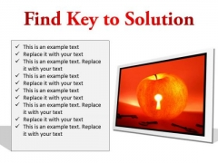Find Key To Solution Business PowerPoint Presentation Slides F