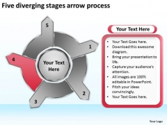 Five Diverging Stages Arrow Process Circular Layout PowerPoint Slides