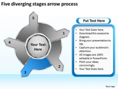 Five Diverging Stages Arrow Process Pie Chart PowerPoint Slides