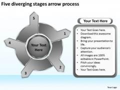 Five Diverging Stages Arrow Process Pie PowerPoint Slides
