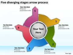 Five Diverging Stages Arrow Process Processs And PowerPoint Templates