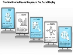 Five Mobiles In Linear Sequence For Data Display Presentation Template