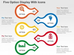 Five Option Display With Icons PowerPoint Templates