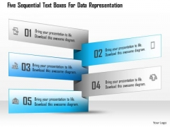 Five Sequential Text Boxes For Data Representation Presentation Template