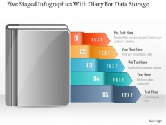 Five Staged Infographics With Diary For Data Storage PowerPoint Template