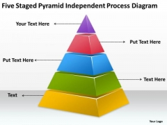 Five Staged Pyramid Independent Process Diagram Ppt Sample Business Plans PowerPoint Templates