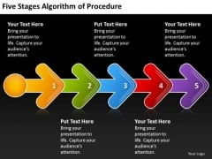 Five Stages Agorithm Of Procedure Diagram Business Plan PowerPoint Templates