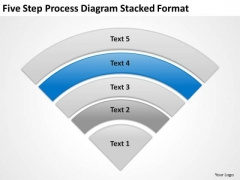 Five Step Process Diagram Stacked Format Elements Of Business Plan PowerPoint Slides