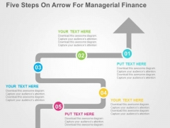 Five Steps On Arrow For Managerial Finance PowerPoint Template