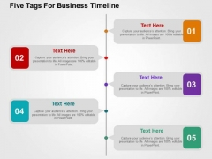 Five Tags For Business Timeline PowerPoint Template