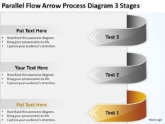 Flow Arrow Process Diagram 3 Stages Write Business Plan Template PowerPoint Templates