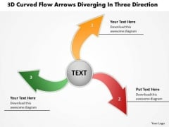 Flow Arrows Diverging Three Direction Circular Network PowerPoint Templates