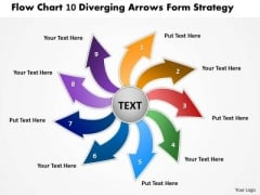 Flow Chart 10 Diverging Arrows Form Strategy Ppt Cycle Diagram PowerPoint Slides