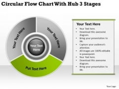 Flow Chart With Hub 3 Stages Business Plan Professional Services PowerPoint Templates