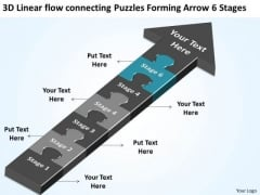 Flow Connecting Puzzles Forming Arrow 6 Stages Ppt Starting Business Plan PowerPoint Slides