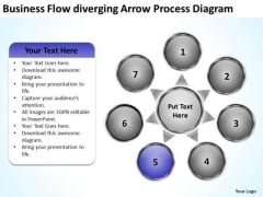 Flow Diverging Arrow Process Diagram Chart Circular PowerPoint Templates