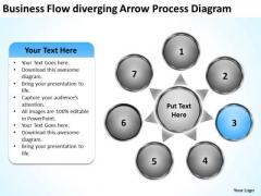 Flow Diverging Arrow Process Diagram Circular PowerPoint Templates