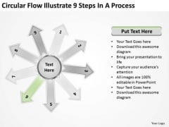 Flow Illustrate 9 Steps In Process Circular Layout Network PowerPoint Slides
