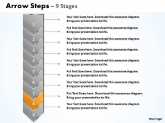 Flow PowerPoint Template Arrow 9 Stages Time Management Ppt Graphic