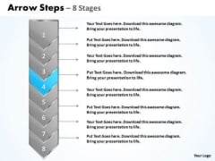 Flow Ppt Background Eight Stages Demonstrated Arrow 5 Graphic