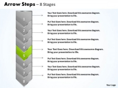 Flow Ppt Background Eight Stages Demonstrated Arrow 6 Graphic