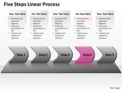 Flow Ppt Background Five Steps Working With Slide Numbers Linear Process 5 Image